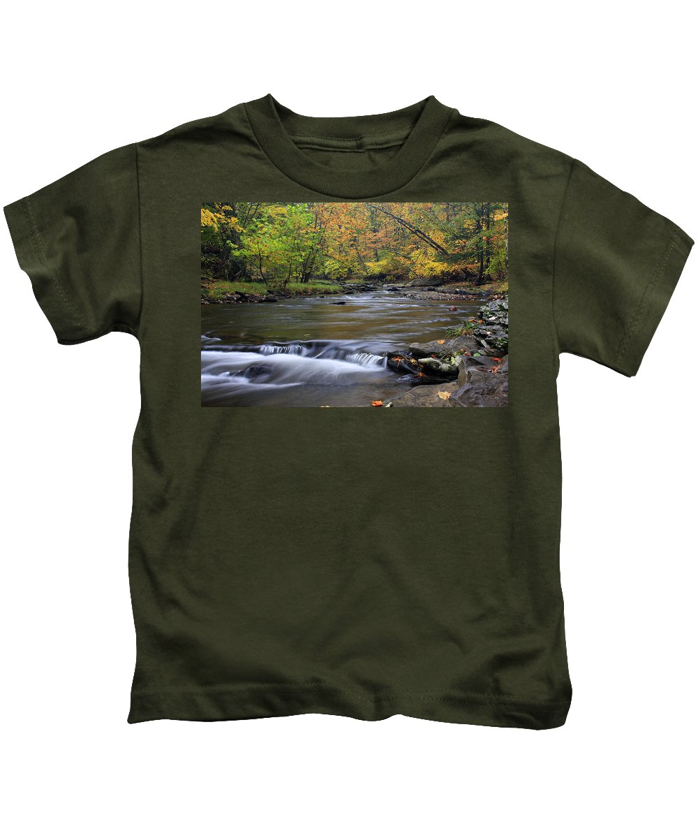 Fall Kids T-Shirt featuring the photograph Fall Forward by Jeff Bord