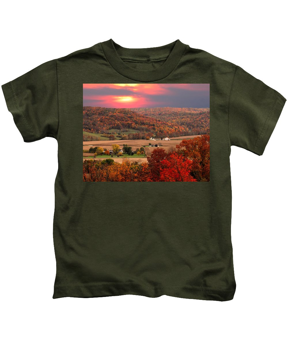 Autumn Kids T-Shirt featuring the photograph Farmers Of Paint Valley by Randall Branham