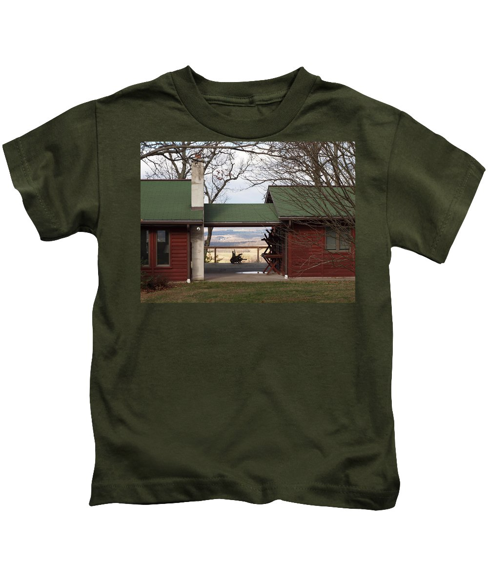 Horses Kids T-Shirt featuring the photograph Farmhouse by Robert Margetts