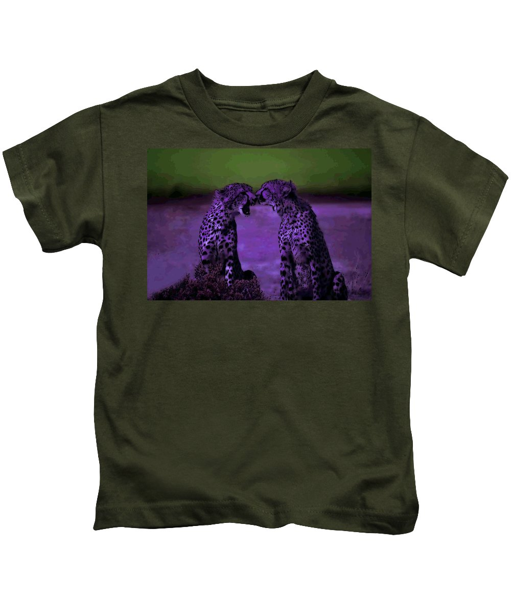 Cheetahs Kids T-Shirt featuring the photograph Feelings by George Pedro
