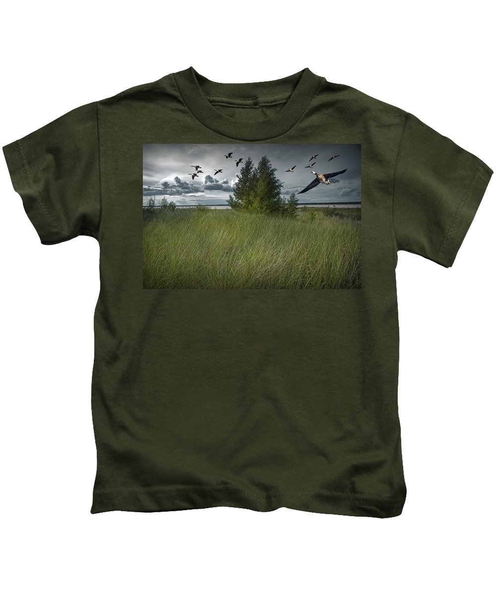 Art Kids T-Shirt featuring the photograph Flight Along The Bay by Randall Nyhof