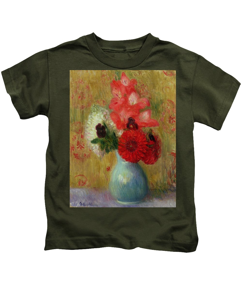 Floral Arrangement In Green Vase (oil On Canvas)still Life; Flowers; Flower; American Impressionist; Ashcan School; The Eight; Still-life Kids T-Shirt featuring the painting Floral Arrangement In Green Vase by William James Glackens