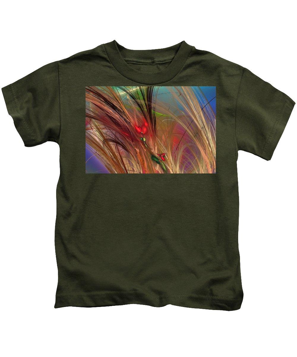 Fine Art Kids T-Shirt featuring the digital art Flowers In The Grass by David Lane