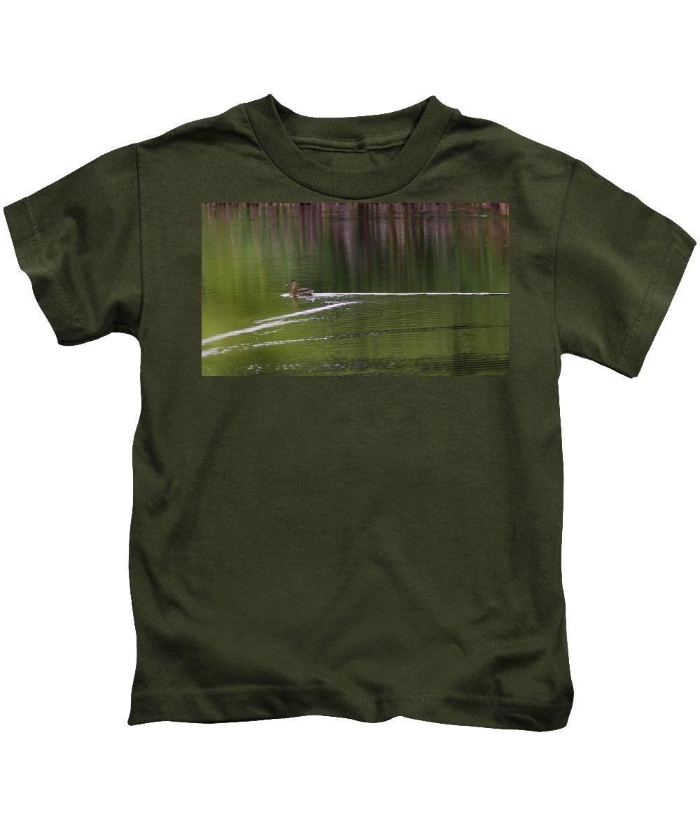 Mallard Kids T-Shirt featuring the photograph Full Speed Ahead by Travis Truelove