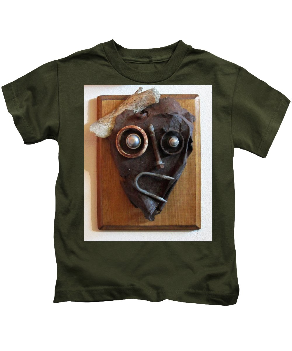 Sculpture Kids T-Shirt featuring the sculpture Funny Bone by Snake Jagger