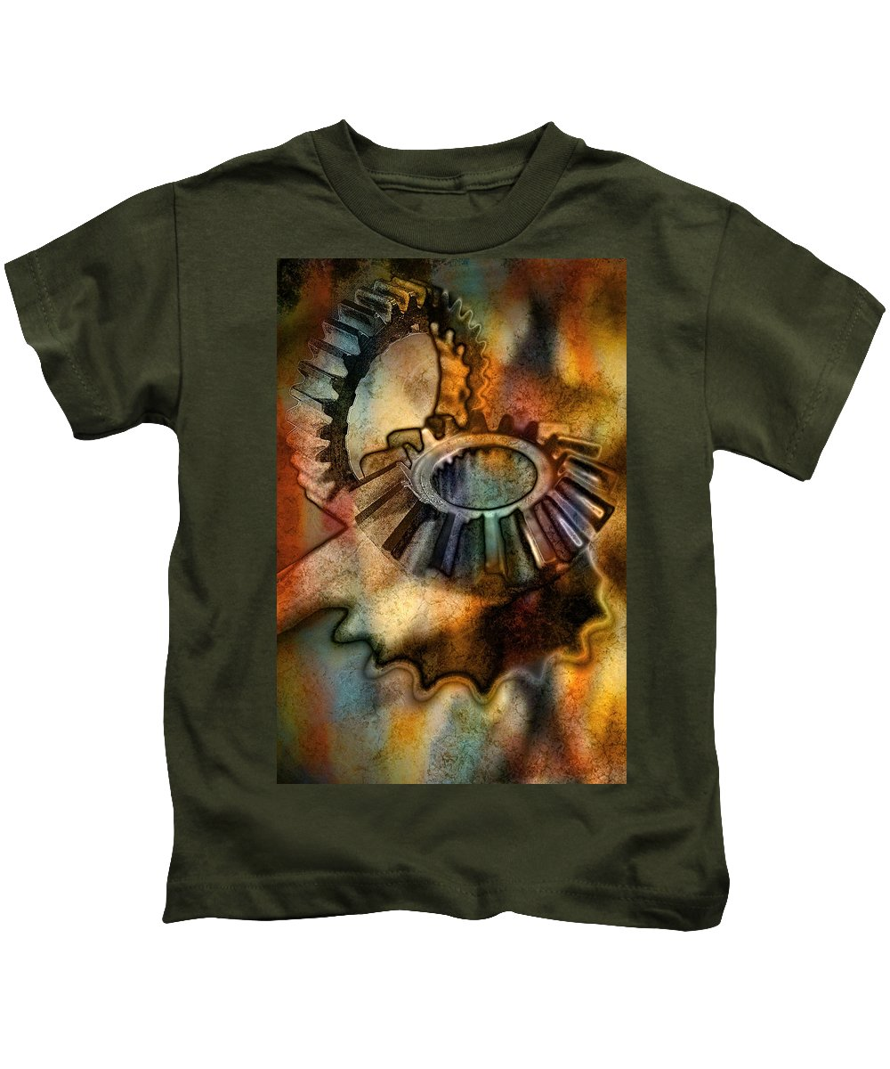 Art Kids T-Shirt featuring the pyrography Gears by Mauro Celotti