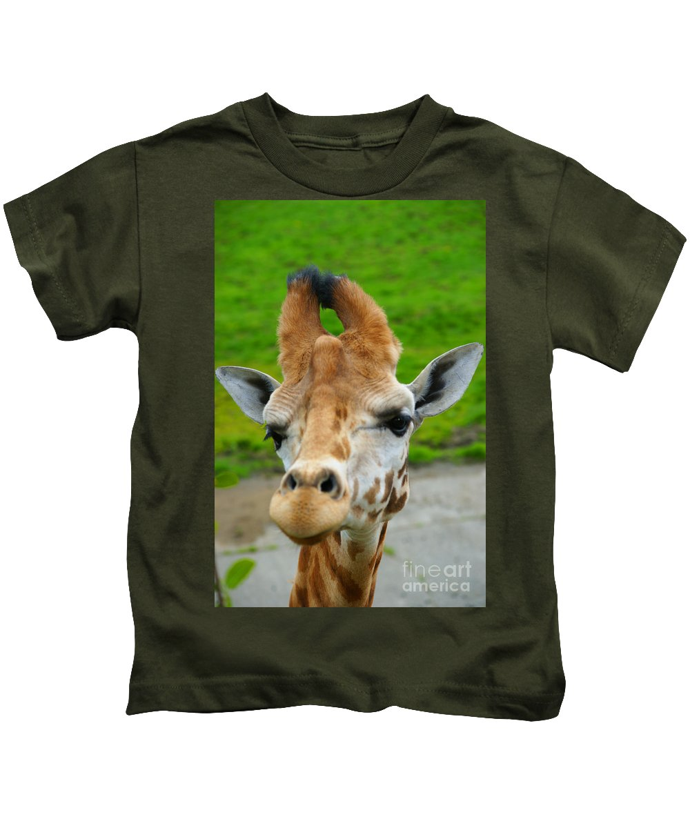 Giraffes Kids T-Shirt featuring the photograph Giraffe In The Park by Randy Harris