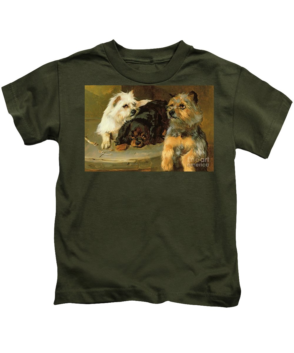 Give A Poor Dog A Bone Kids T-Shirt featuring the painting Give A Poor Dog A Bone by George Wiliam Horlor