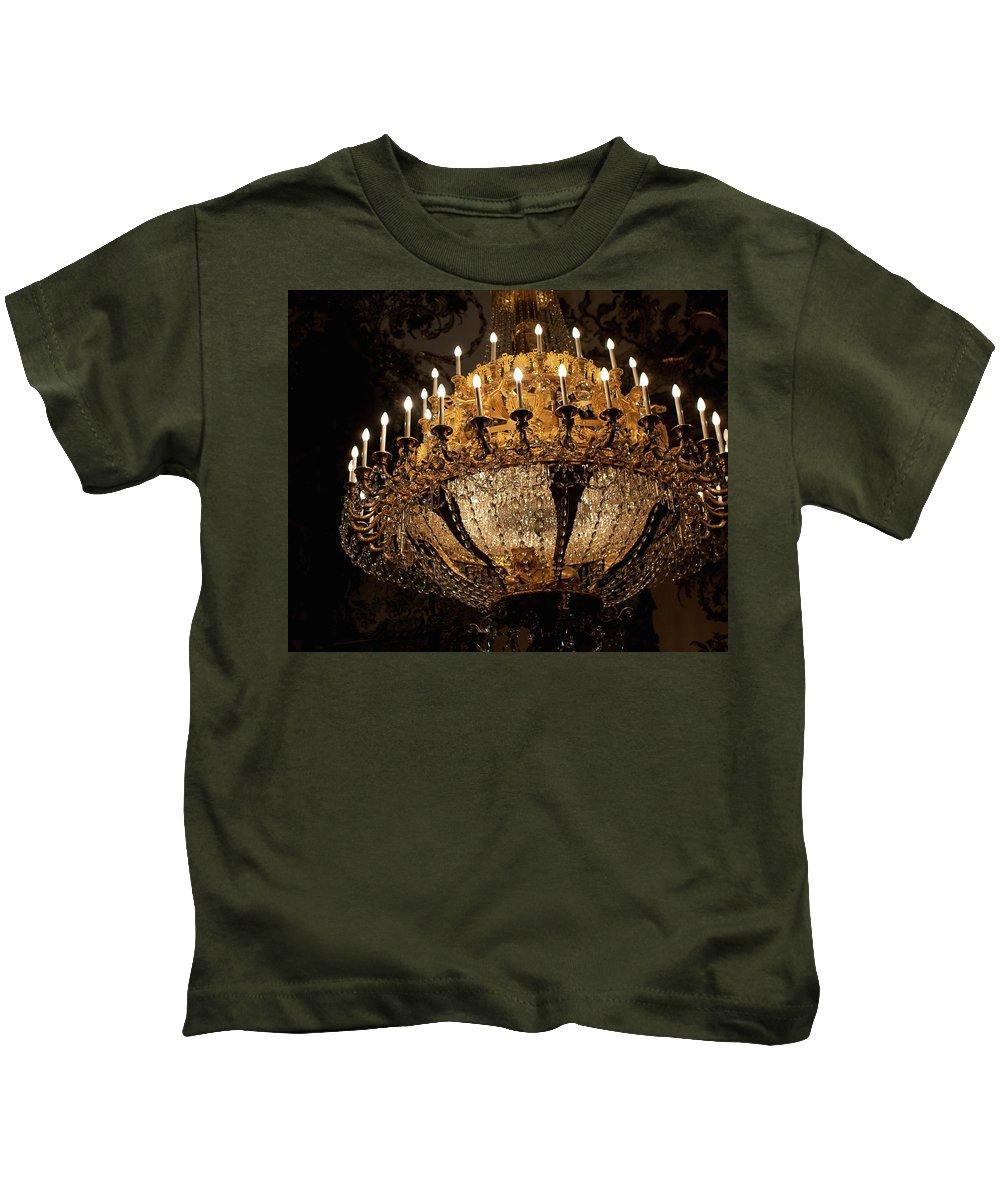 Madrid Kids T-Shirt featuring the photograph Golden Chandelier by Lorraine Devon Wilke