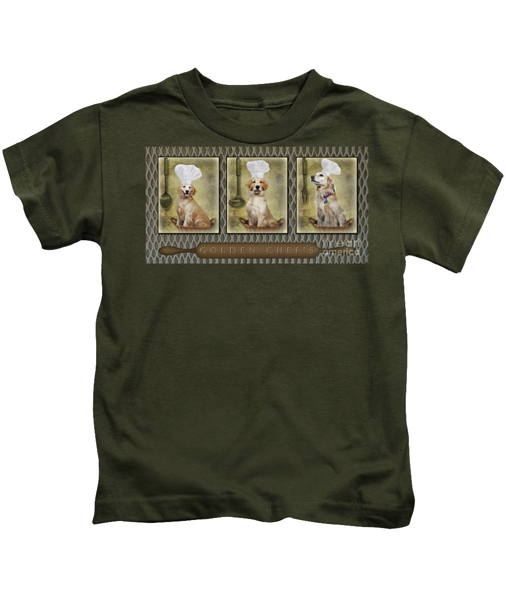 Golden Retrievers Kids T-Shirt featuring the photograph Golden Chef's by Susan Candelario