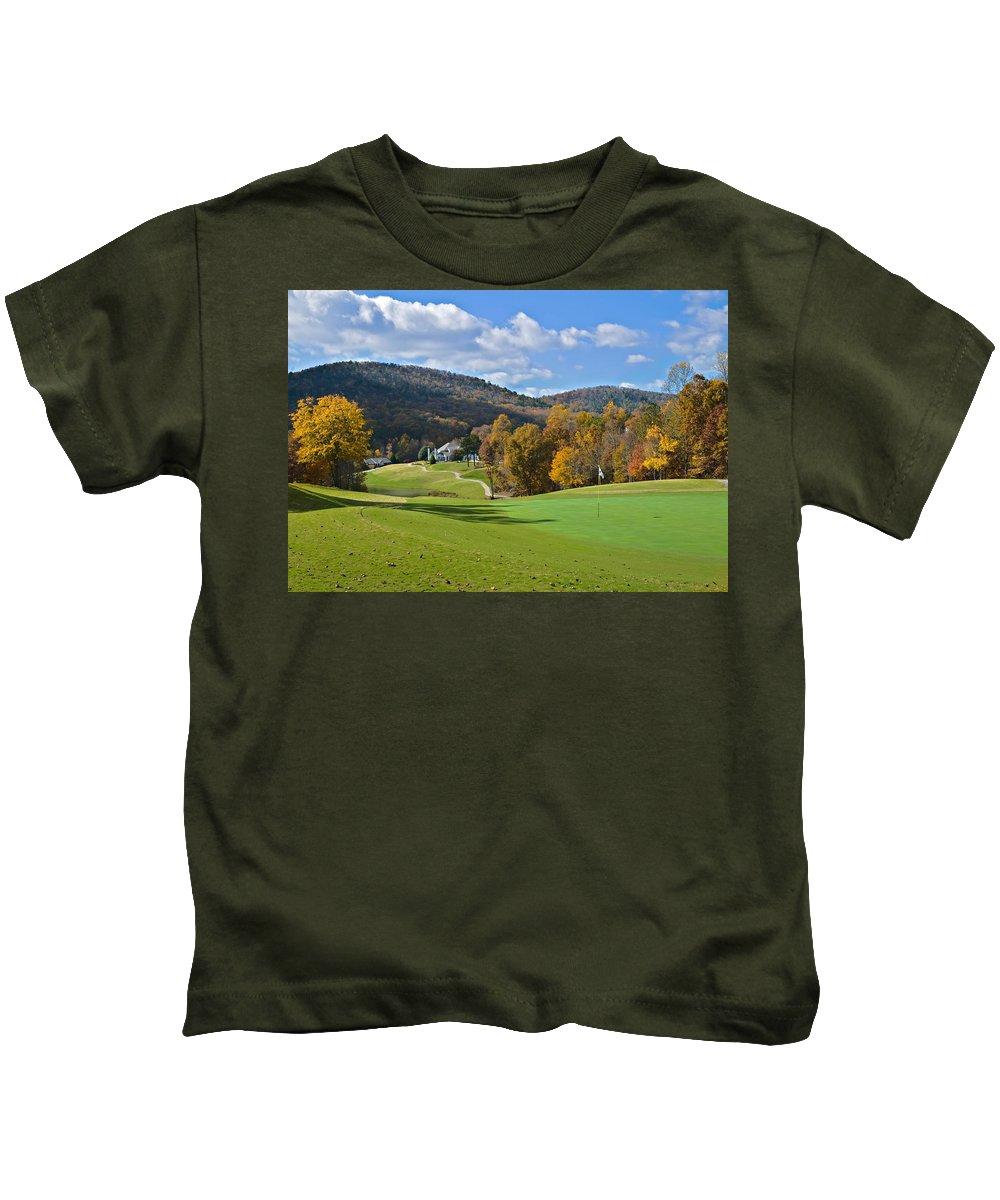 Golf Kids T-Shirt featuring the photograph Golf Course In Autumn by Susan Leggett