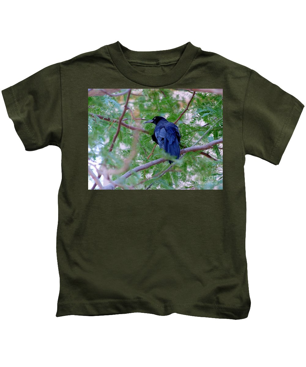 Grackles Kids T-Shirt featuring the photograph Grackle On A Branch by Mary Deal