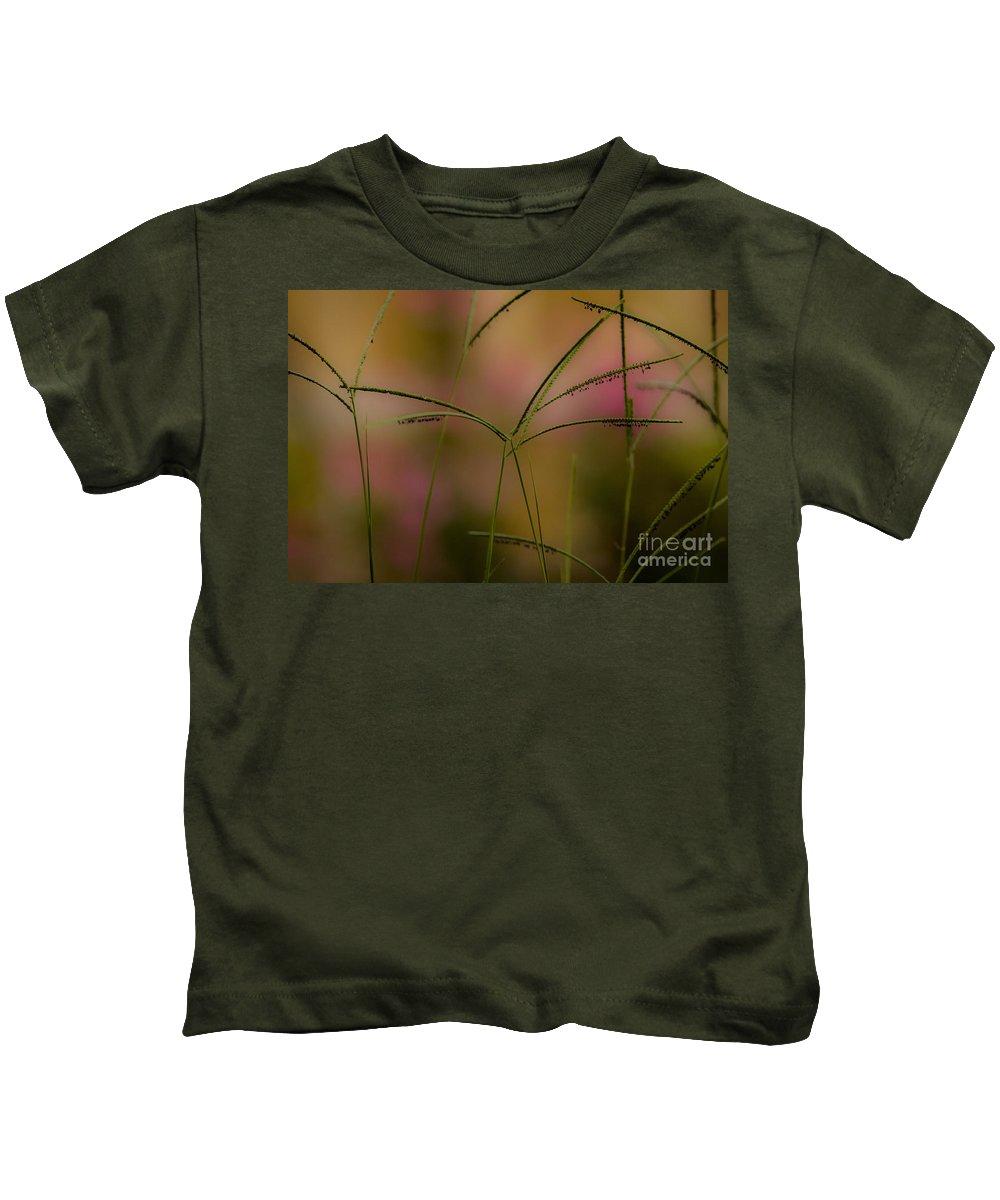 Bermuda Grass Kids T-Shirt featuring the mixed media Grass Seeds by Kim Henderson