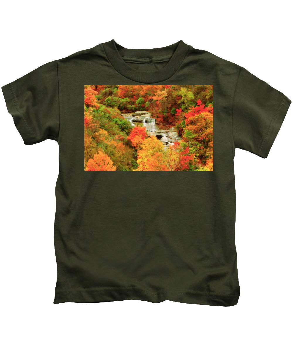 Blue Ridge Parkway Kids T-Shirt featuring the painting Graveyard Fields Lower Falls by Lynne Jenkins