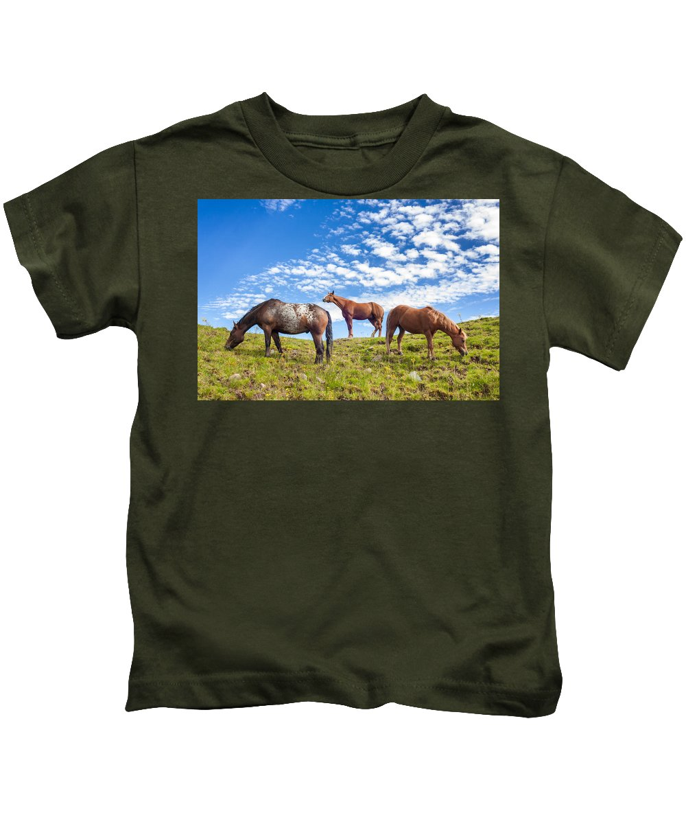 Animal Kids T-Shirt featuring the photograph Grazing by Semmick Photo