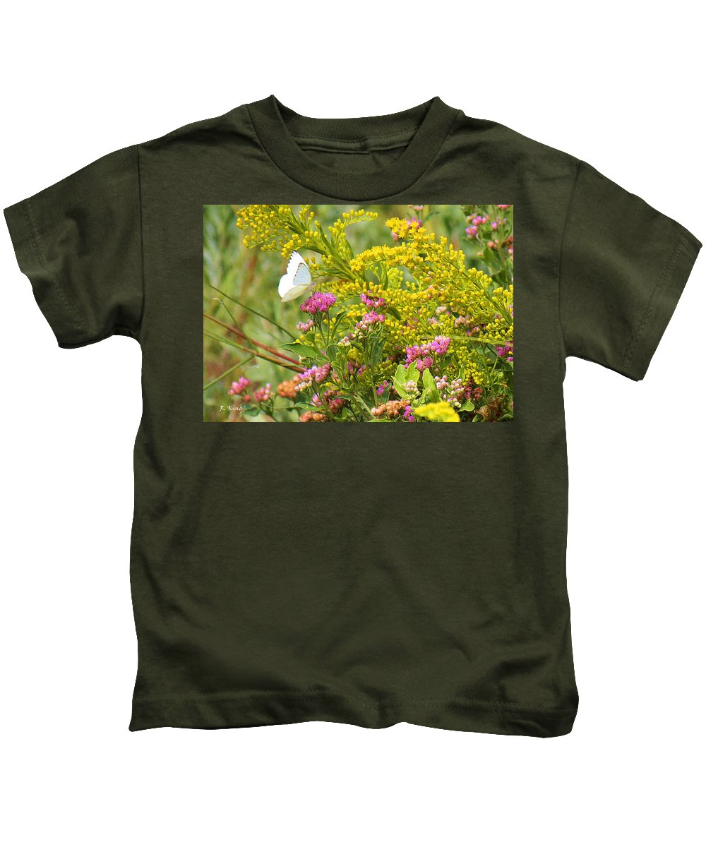 Roena King Kids T-Shirt featuring the photograph Great Southern White Butterfly Likes The Pink Flowers by Roena King