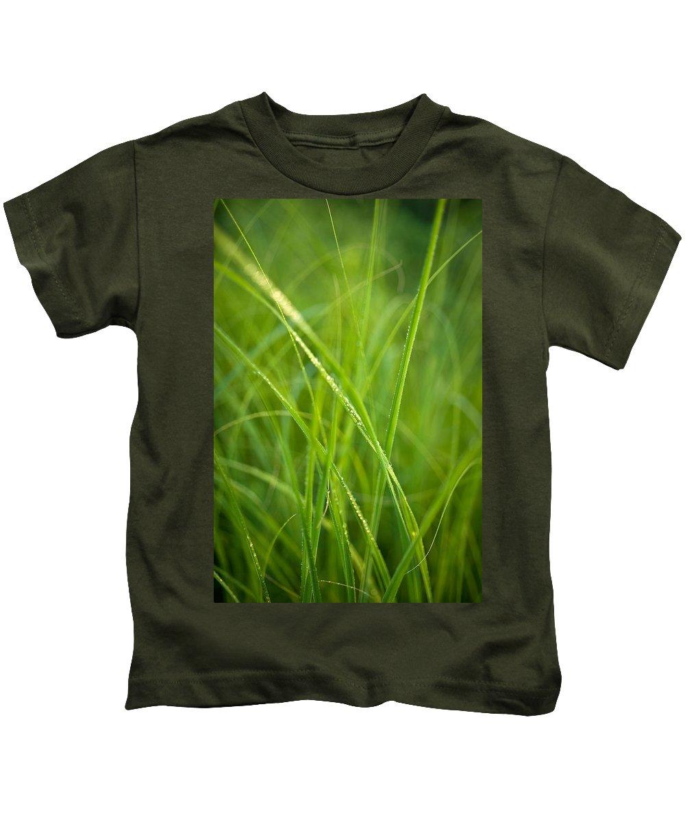Prairie Kids T-Shirt featuring the photograph Green Prairie Grass by Steve Gadomski