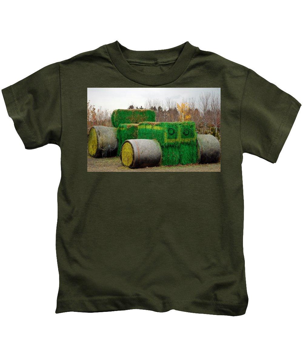 Usa Kids T-Shirt featuring the photograph Hay Tractor by LeeAnn McLaneGoetz McLaneGoetzStudioLLCcom