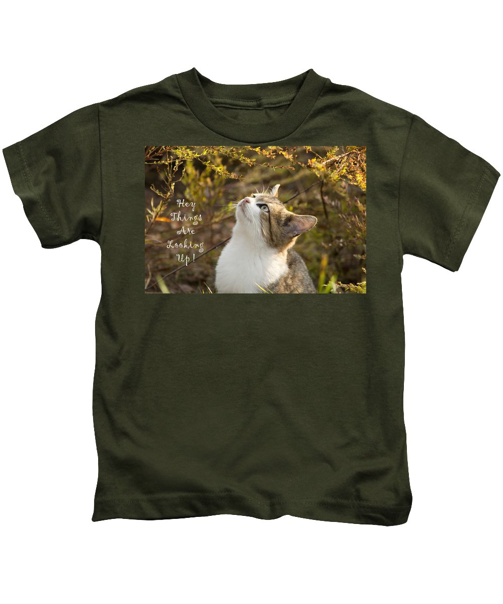Hey Kids T-Shirt featuring the photograph Hey Things Are Looking Up by Kathy Clark