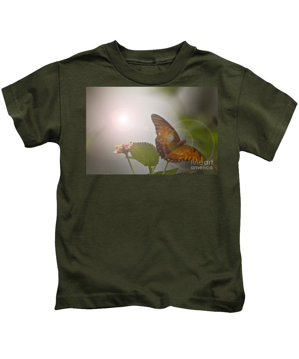 Butterfly Kids T-Shirt featuring the mixed media Homecoming by Kim Henderson
