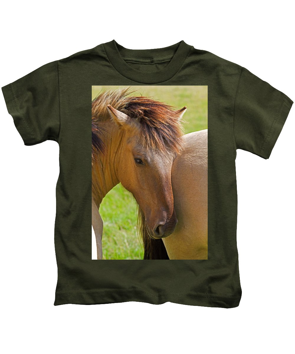 Horse Kids T-Shirt featuring the photograph Horse Portrait by David Freuthal