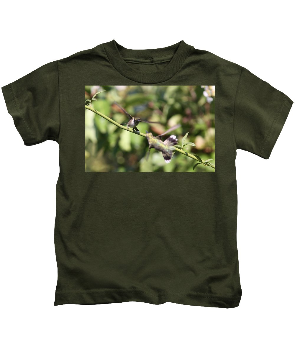 Hummingbird Kids T-Shirt featuring the photograph Hummingbird - You Have Done It Now by Travis Truelove