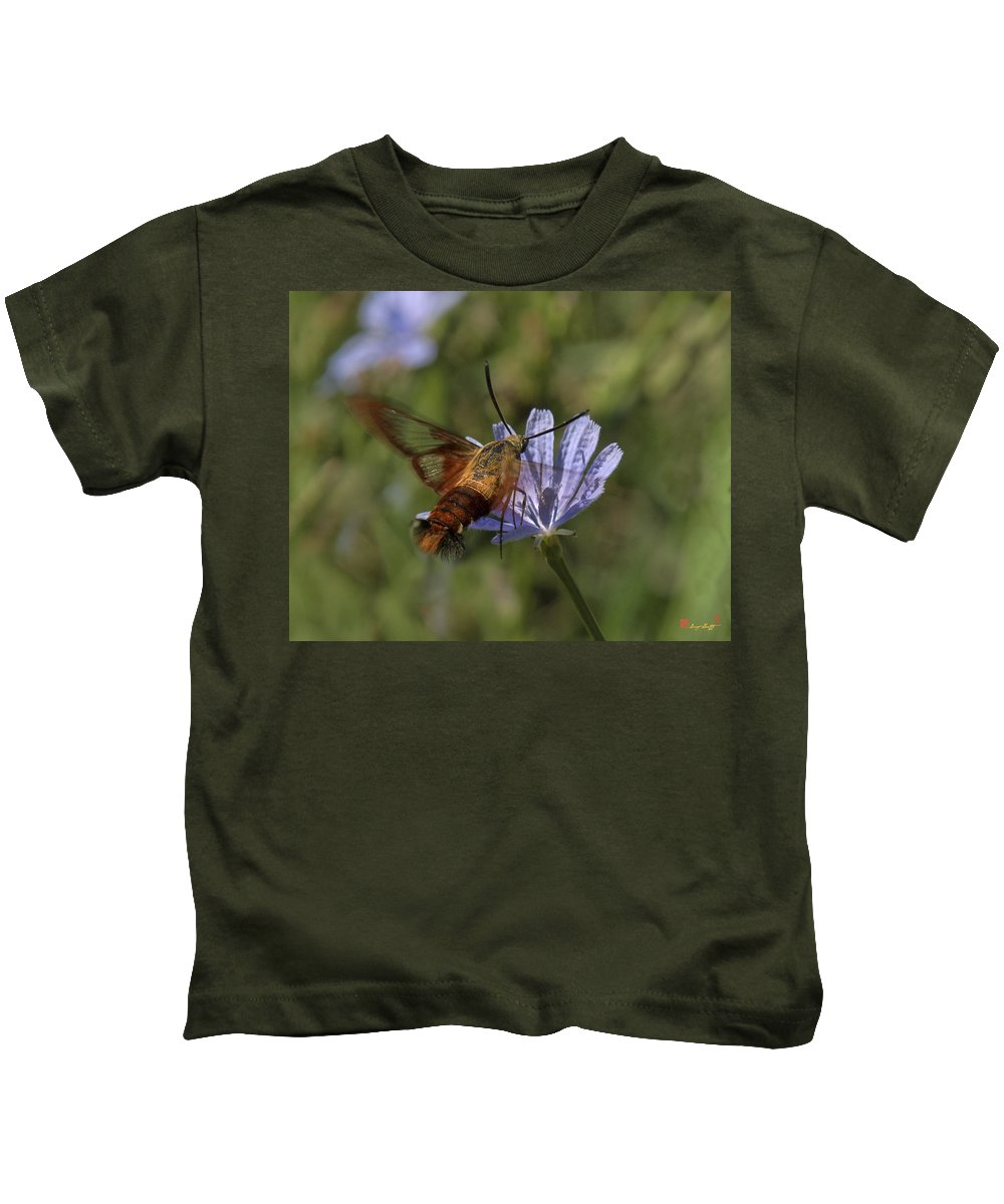 Nature Kids T-Shirt featuring the photograph Hummingbird Or Clearwing Moth Din137 by Gerry Gantt