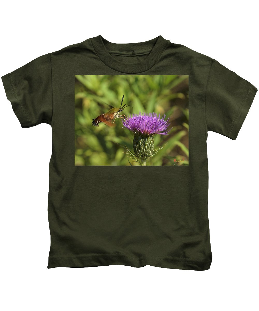 Nature Kids T-Shirt featuring the photograph Hummingbird Or Clearwing Moth Din141 by Gerry Gantt