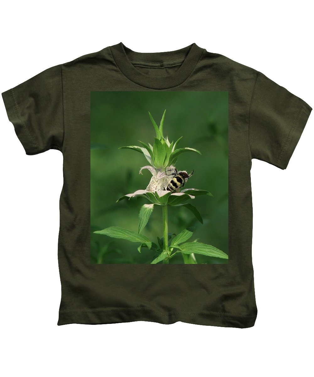 Nature Kids T-Shirt featuring the photograph Hunter Wasp On Beebalm by Peg Urban