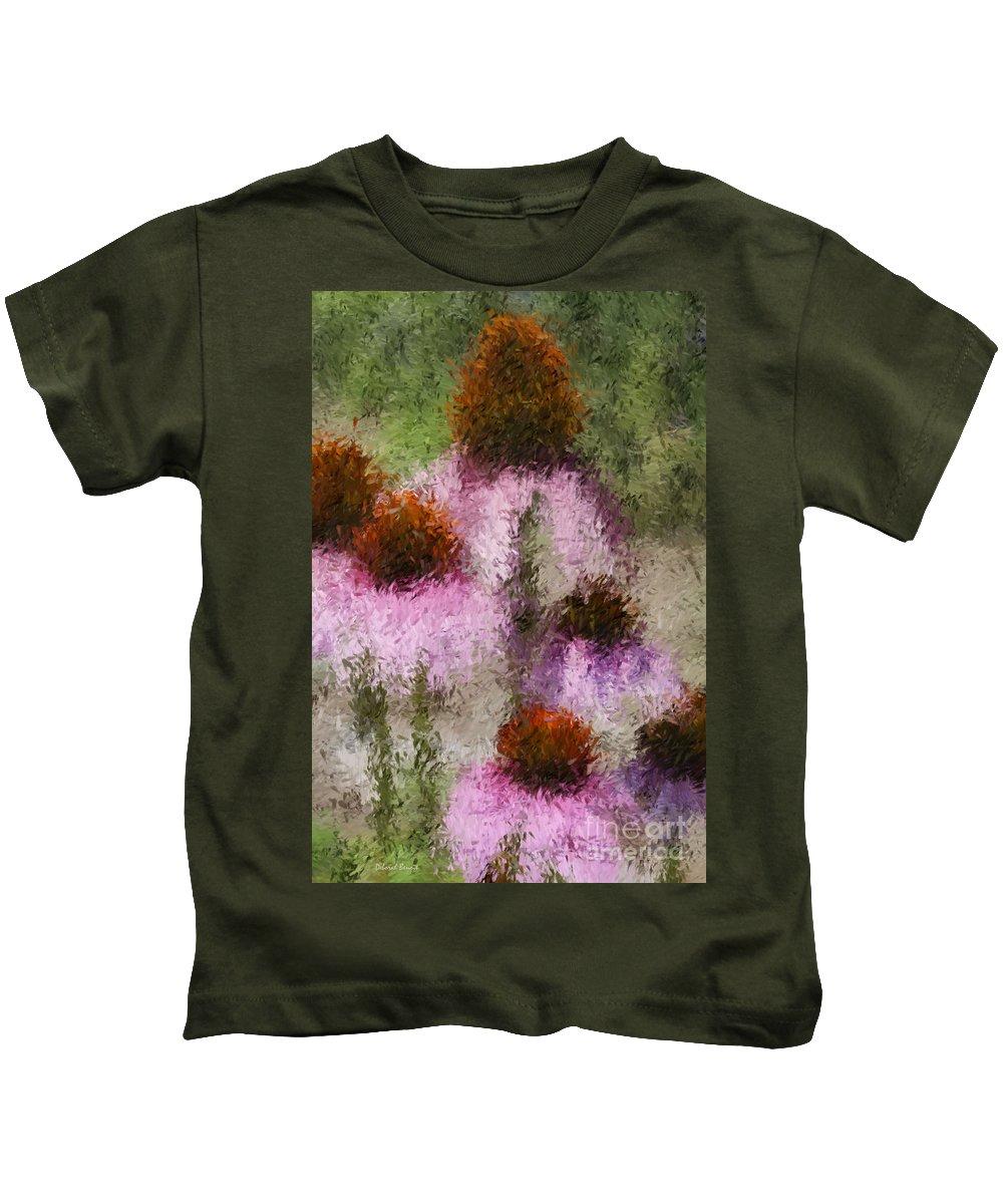 Cone Flowers Kids T-Shirt featuring the digital art Impressionistic Cones by Deborah Benoit