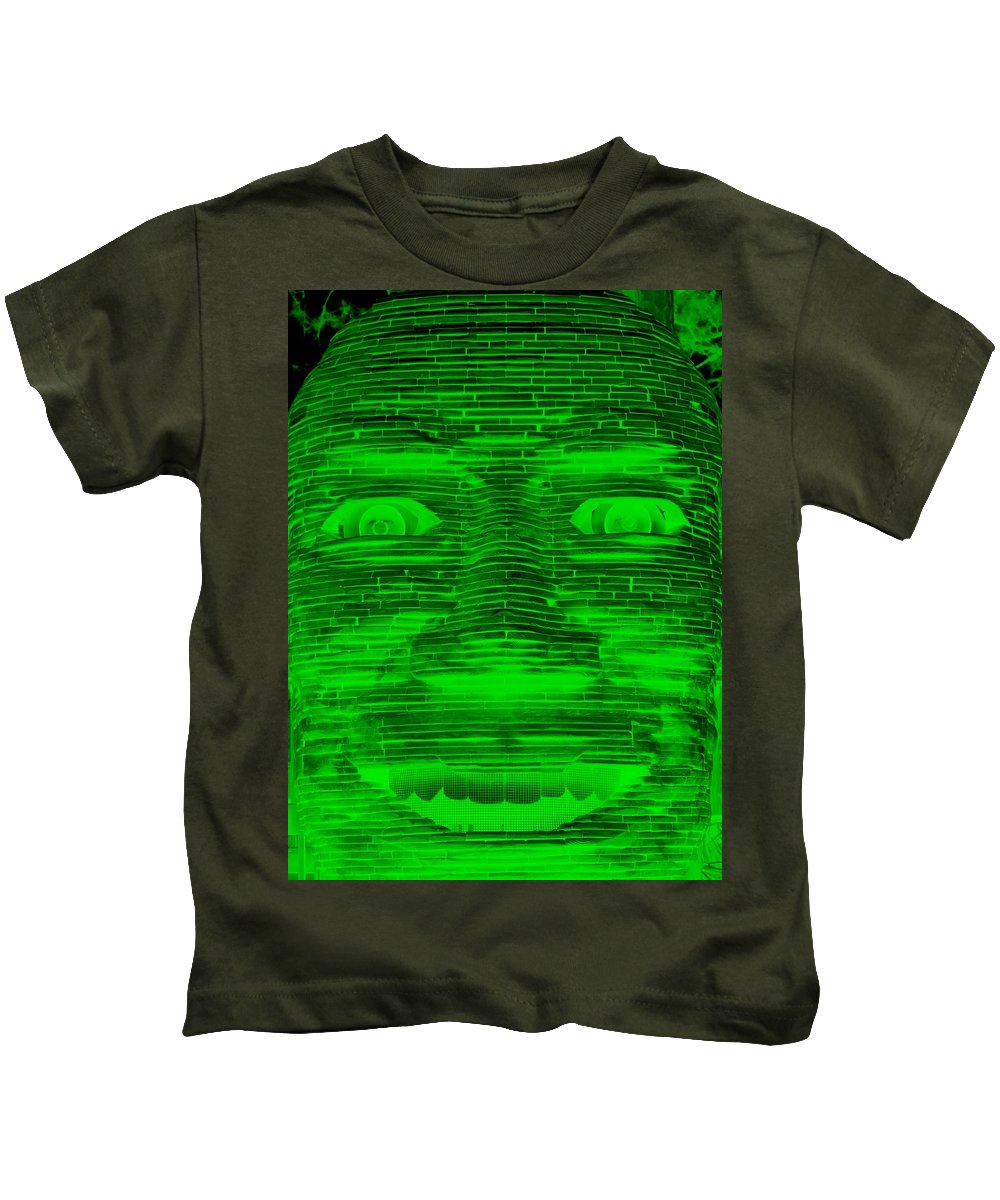 Architecture Kids T-Shirt featuring the photograph In Your Face In Negative Green by Rob Hans
