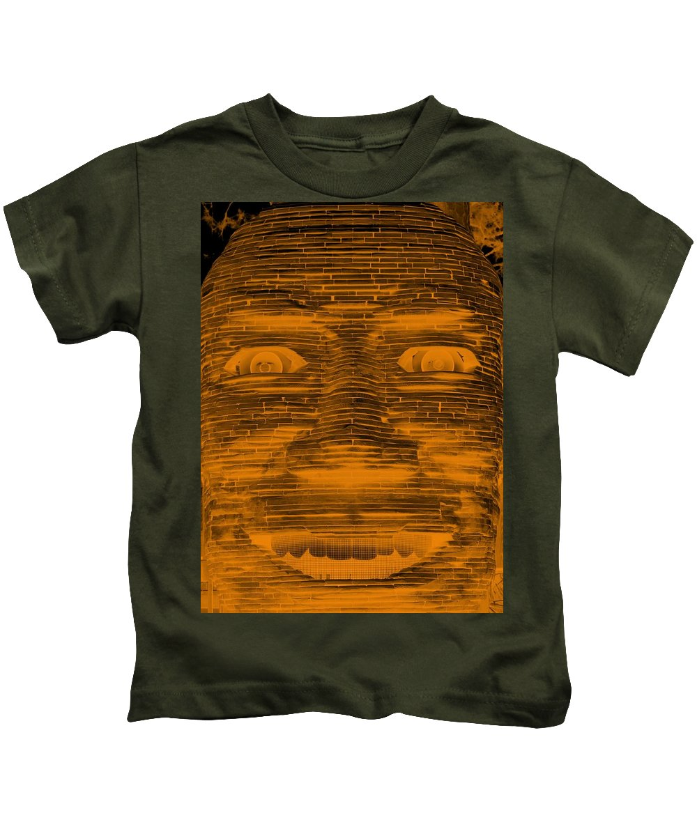 Architecture Kids T-Shirt featuring the photograph In Your Face In Negative Orange by Rob Hans