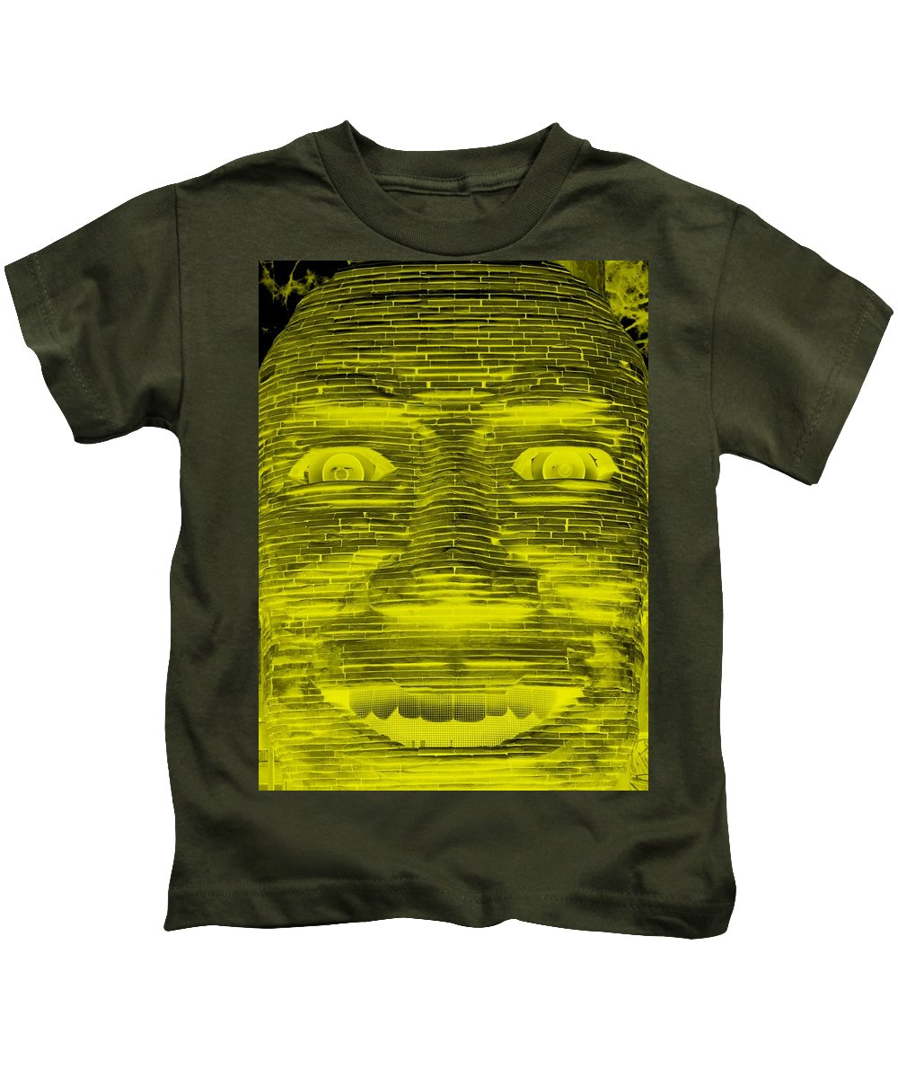 Architecture Kids T-Shirt featuring the photograph In Your Face In Negative Yellow by Rob Hans
