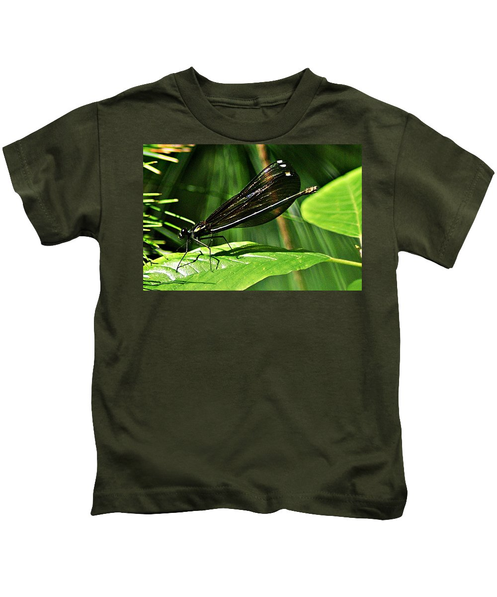 July Kids T-Shirt featuring the photograph July Dragonfly by Joe Faherty