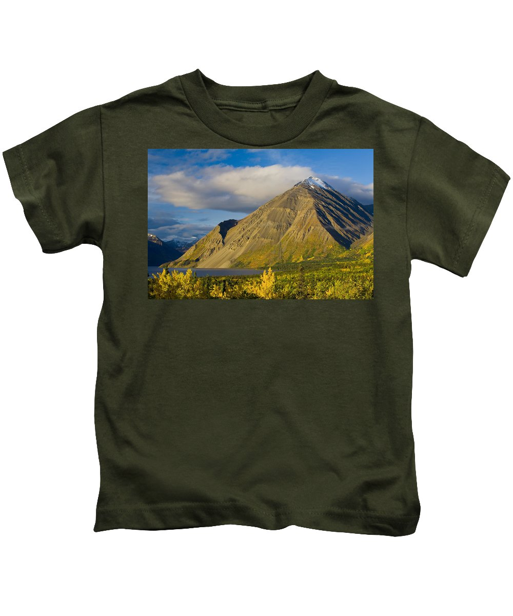 Color Images Kids T-Shirt featuring the photograph Kathleen Lake, Kluane National Park by John Sylvester