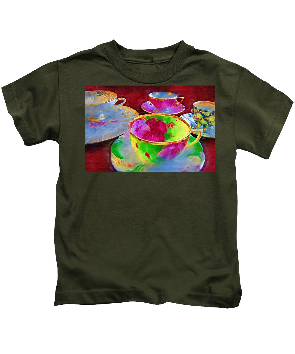 Teacups Kids T-Shirt featuring the photograph Ladies Tea Time by Kathy Clark