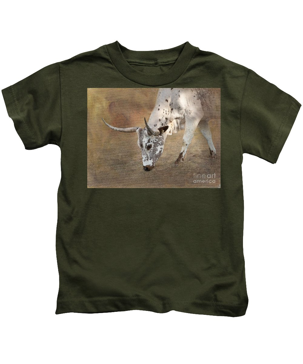 Texas Longhorn Kids T-Shirt featuring the photograph Lazy Days by Betty LaRue