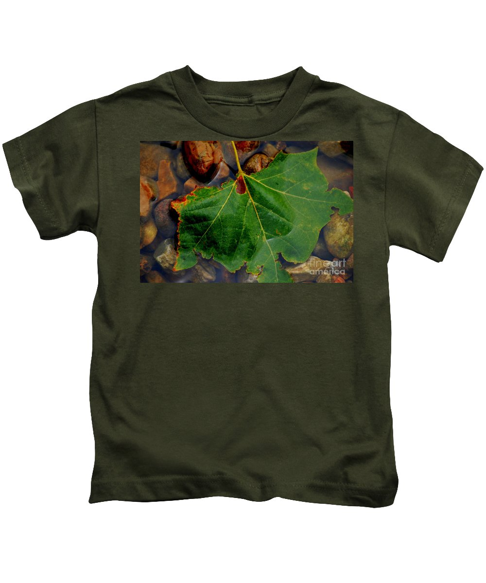 River Kids T-Shirt featuring the photograph Leaf In The River by Anjanette Douglas