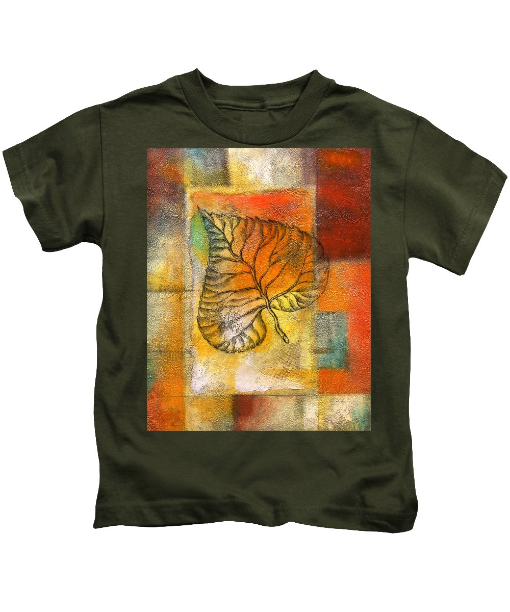Color Image Environment Growth Illustration Illustration And Painting Leaf Nature Nobody Simplicity Three Objects Vertical Color Colour Development Drawing Natural Plant Uncomplicated Organic Decorative Art Kids T-Shirt featuring the painting Leaf Whisper 4 by Leon Zernitsky