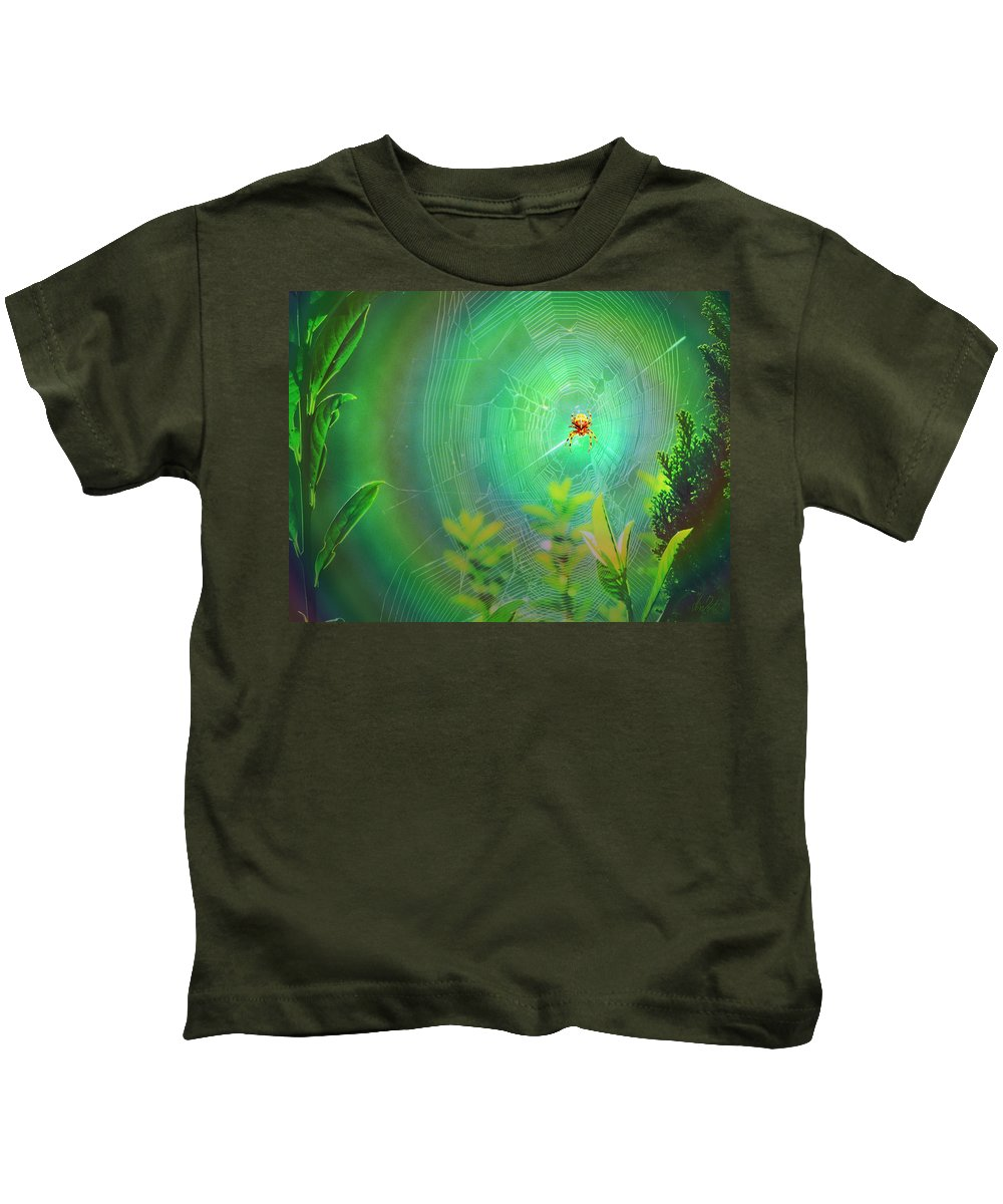 Spider Kids T-Shirt featuring the digital art Lightning Spider by Helmut Rottler