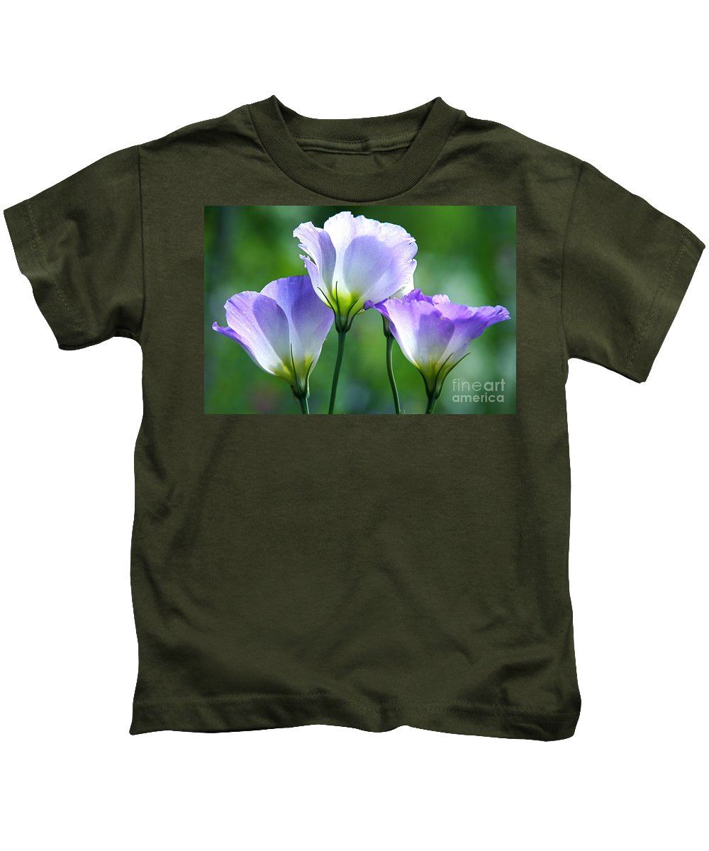 Lisianthus Kids T-Shirt featuring the photograph Lisianthus Number 5 by Byron Varvarigos