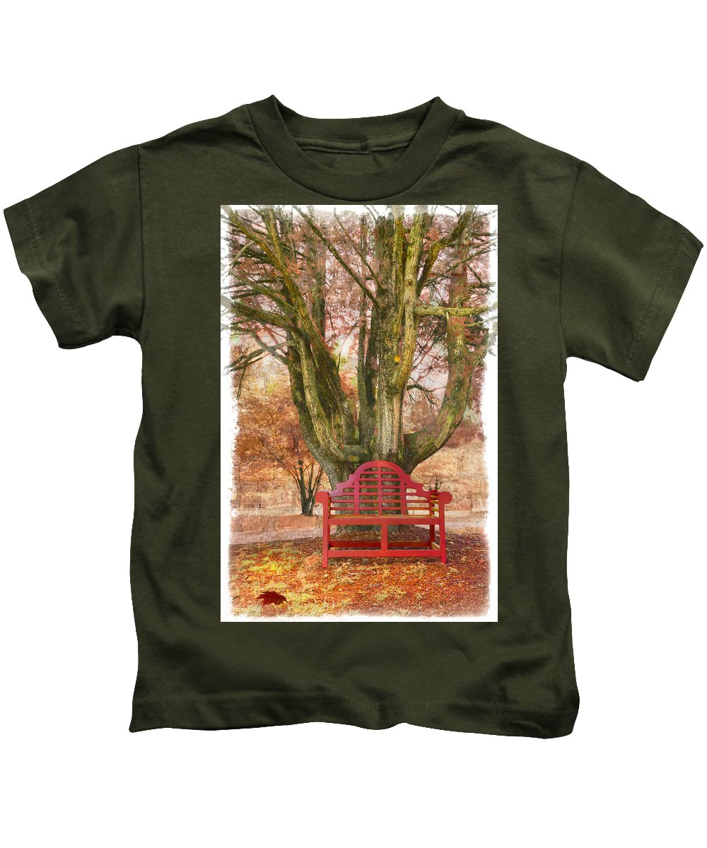 Fine Art Kids T-Shirt featuring the photograph Little Red Bench by Debra and Dave Vanderlaan