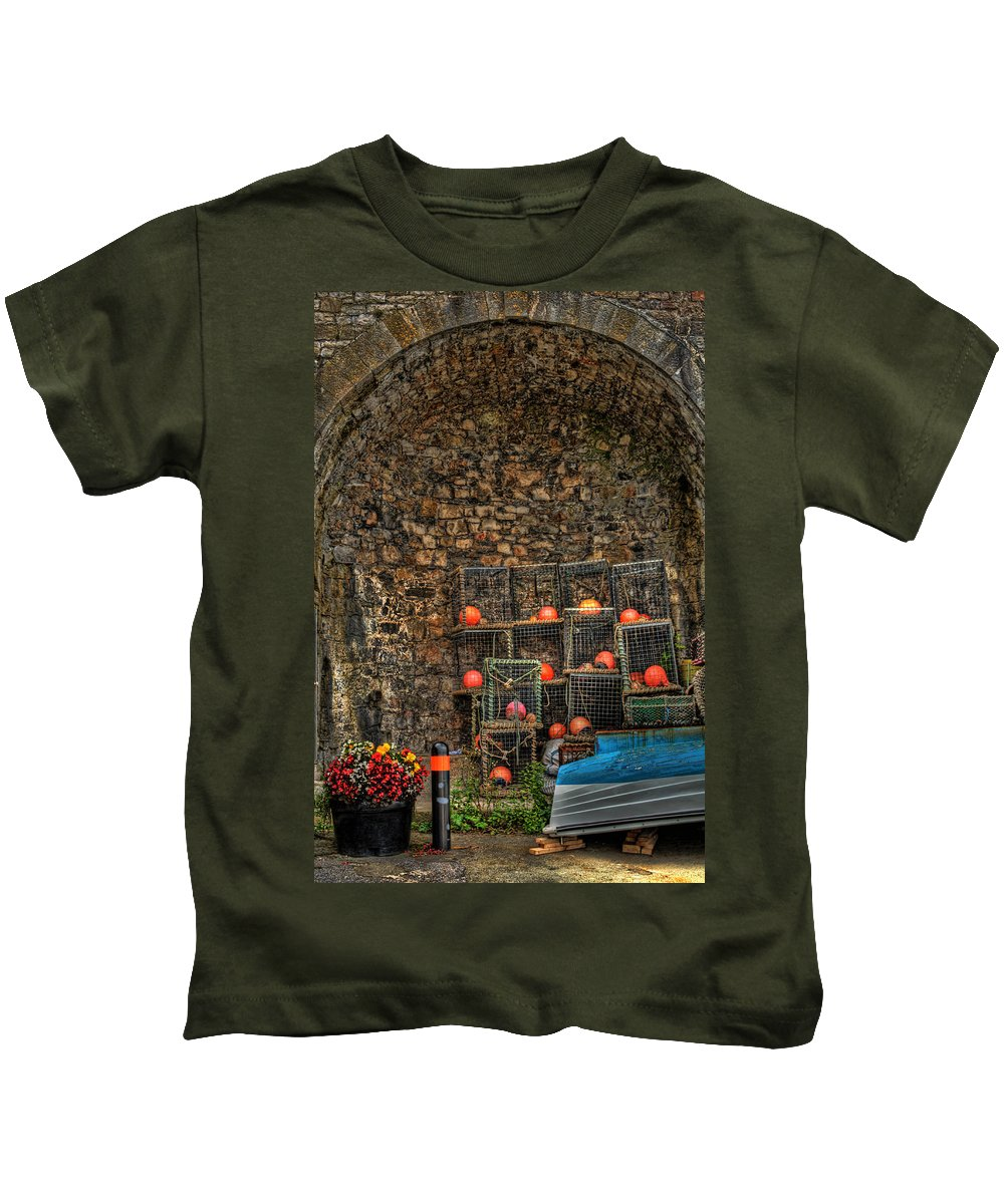Lobster Pots Kids T-Shirt featuring the photograph Lobster Pot Arch by Steve Purnell