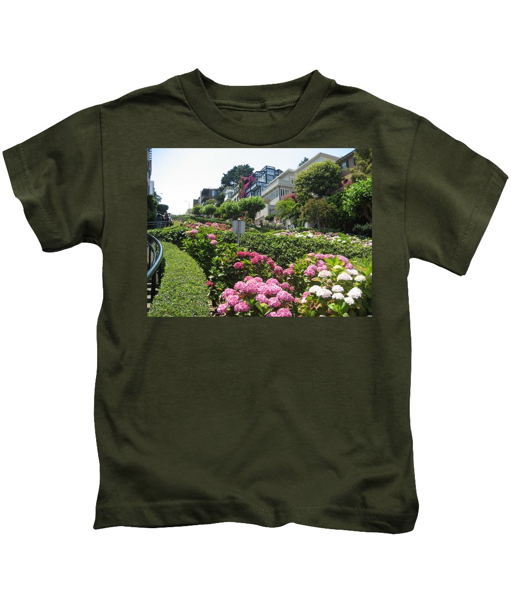 Lombard Street Kids T-Shirt featuring the photograph Lombard Street by Dany Lison