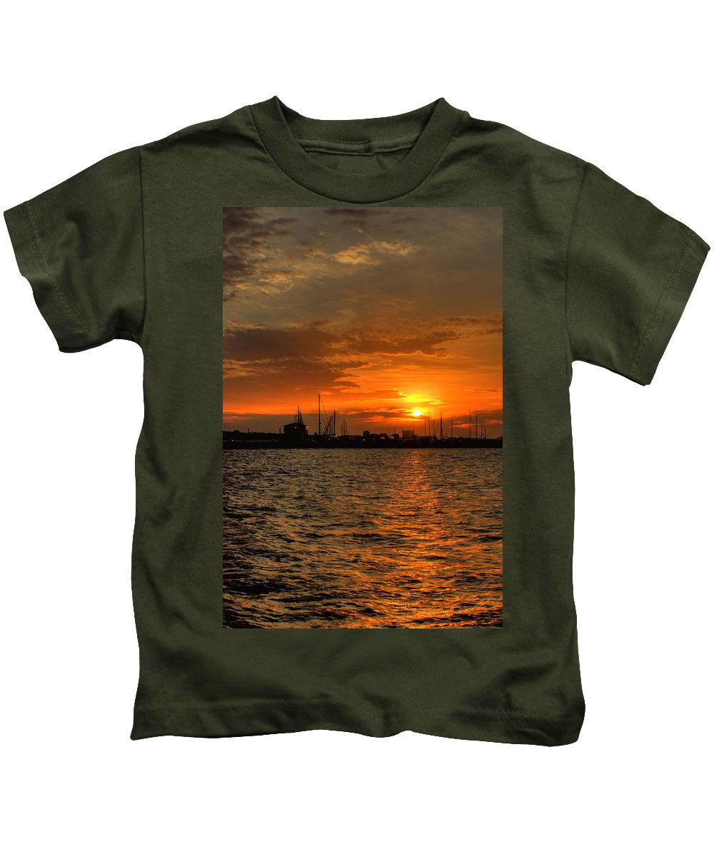 Long Beach Kids T-Shirt featuring the photograph Long Beach Harbor Sunrise by Beth Gates-Sully