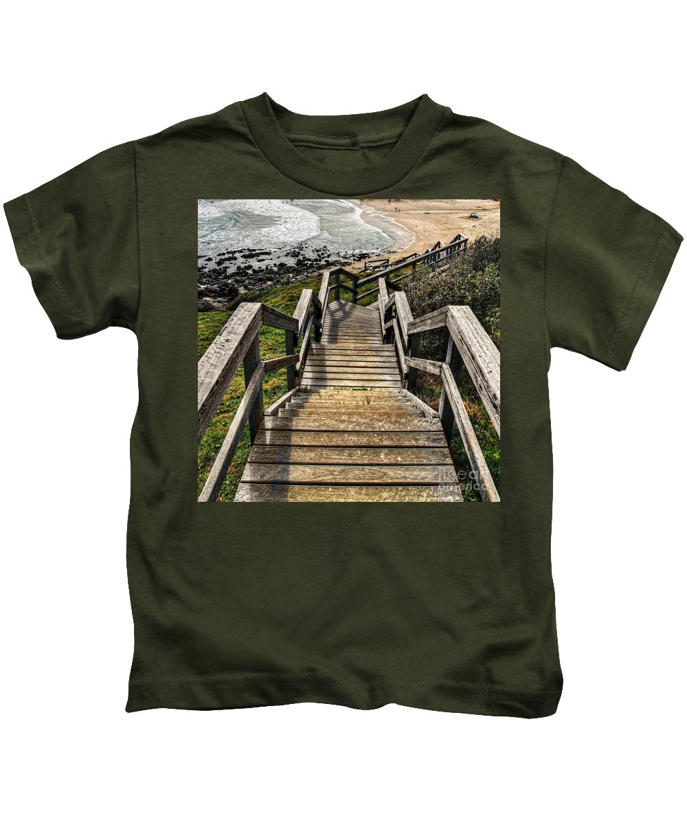 Photography Kids T-Shirt featuring the photograph Long Stairway To Beach by Kaye Menner
