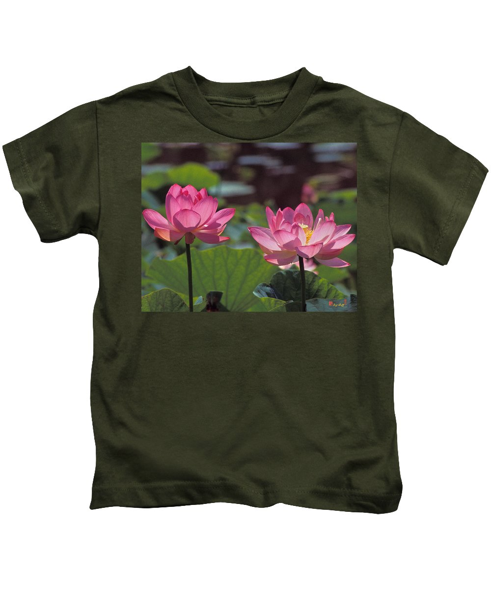 Nature Kids T-Shirt featuring the photograph Lotus Pair 24m by Gerry Gantt