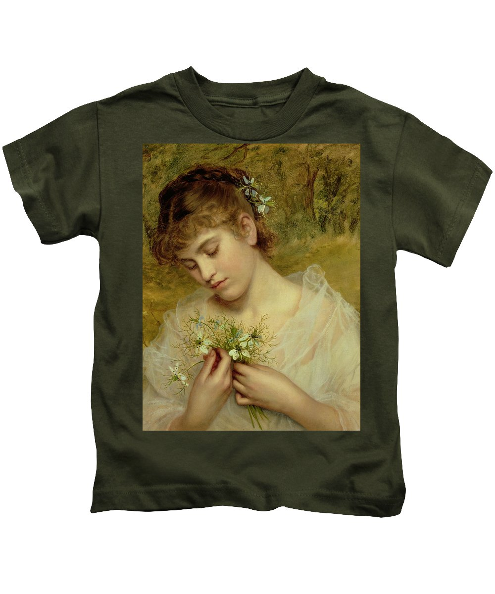 Love In A Mist Kids T-Shirt featuring the painting Love In A Mist by Sophie Anderson