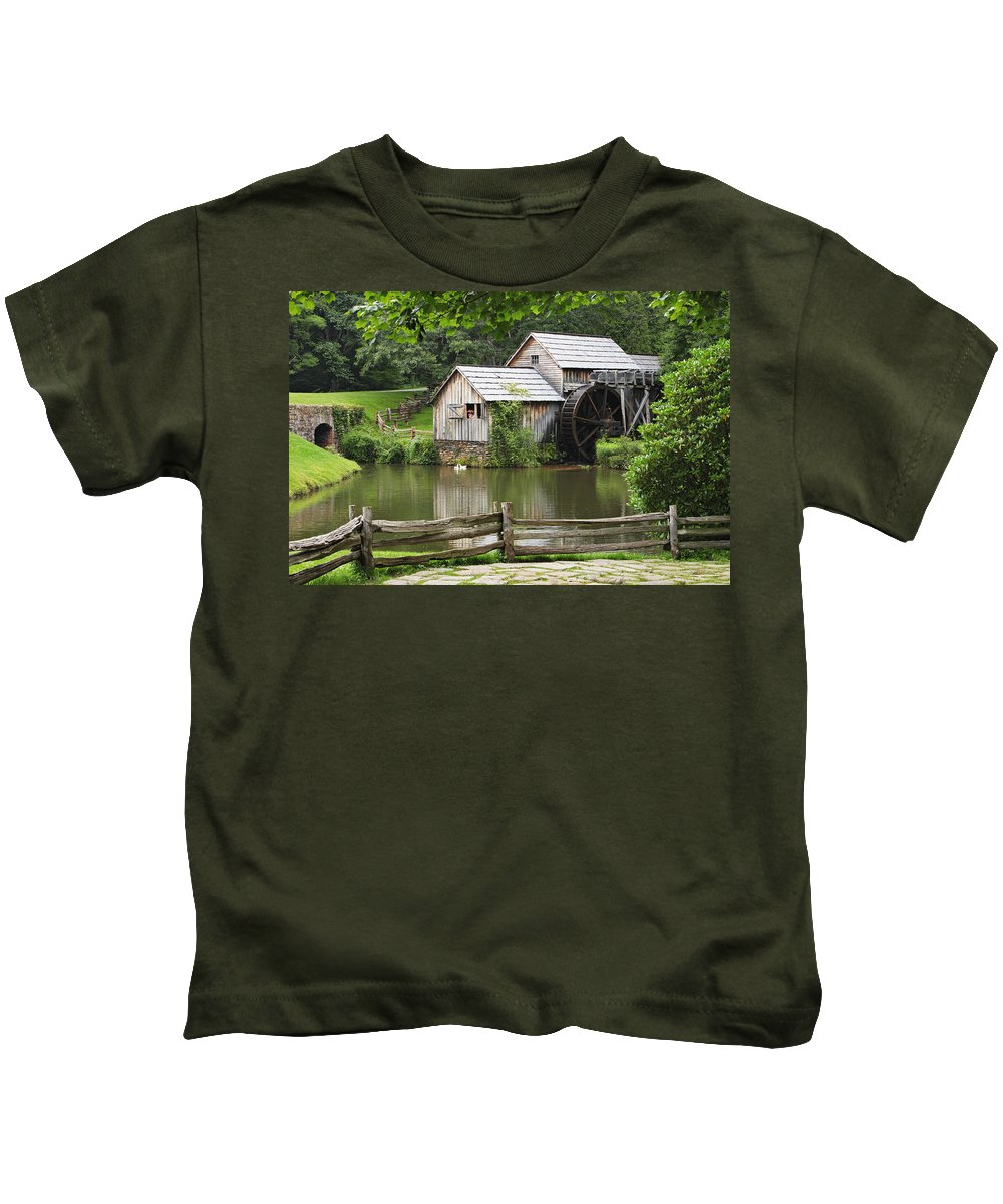 Calm Kids T-Shirt featuring the photograph Mabry Mill Virginia by Yves Marcoux