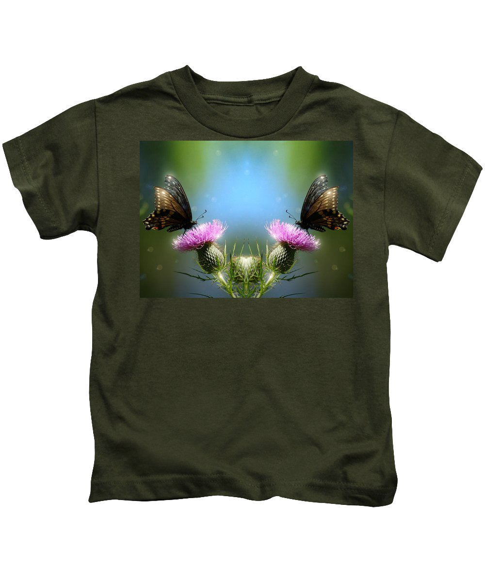 Photoshop Kids T-Shirt featuring the photograph Magical Butterflies by Jenny Gandert
